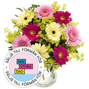 Blombukett med germinis i gult, rosa och cerise. En superfin bukett från Euroflorist.