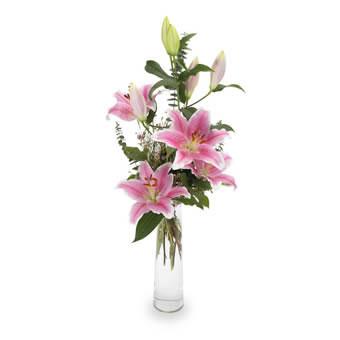 Hög bukett med rosa liljor. Ur Euroflorists sortiment.