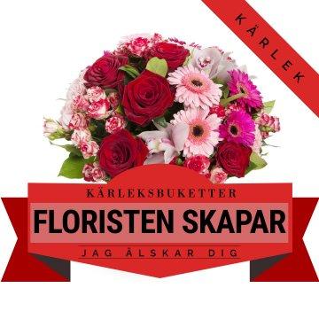 Floristen skapar en bukett med blommor i varma, romantiska färger. Ett alternativ hos Florister i Sverige