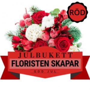 Julbukett i rött. Floristen skapar. Skicka julblommorna med bud via Florister i Sverige.