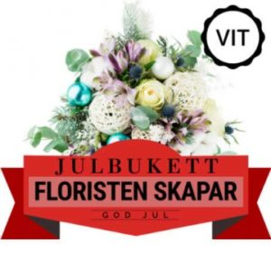 Julbukett i vitt. Floristen skapar. Skicka julblommorna med bud via Florister i Sverige!