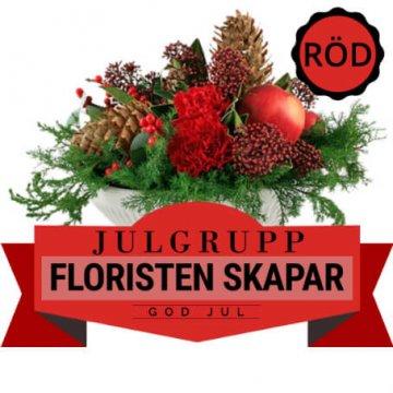 Julgrupp i rött. Floristen skapar. Ett alternativ hos Florister i Sverige