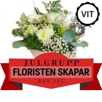 Julgrupp i vitt. Floristen skapar. Skicka julblommorna med bud via Florister i Sverige!